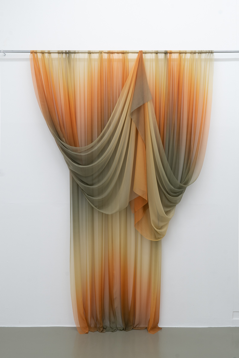 How to drape the surface of Saturn,  2018 269 x 250 cm Printed silk and chromed steel