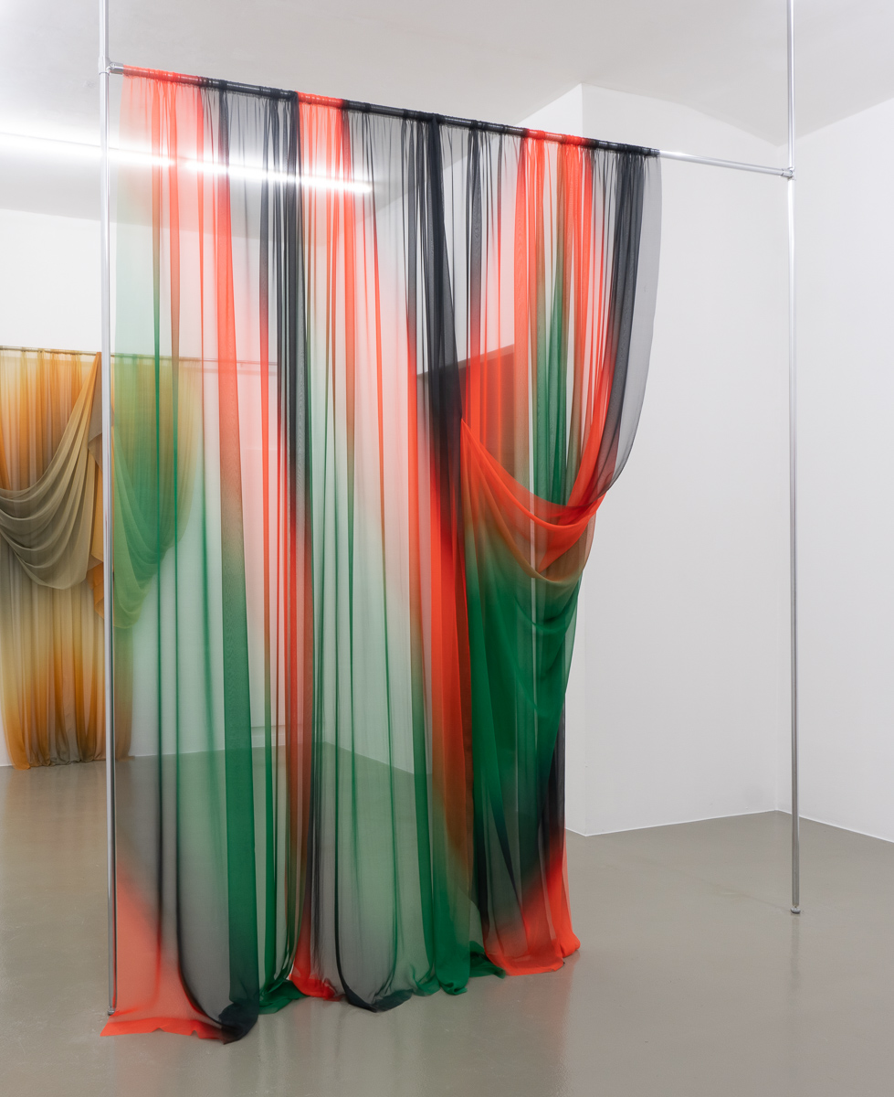 How to drape the prelude of Tristan und Isolde,  2018 276 x 178 cm Printed silk and chromed steel