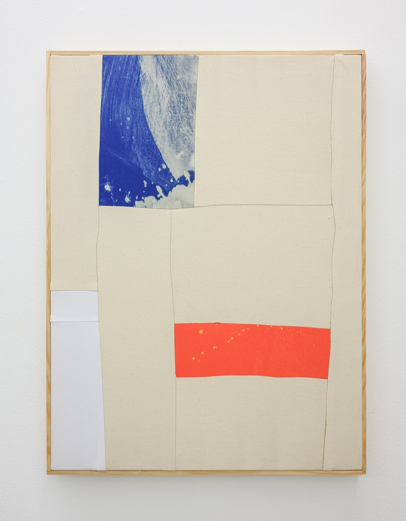 Alentejo Soup,  2018 80 x 61 cm Bleach on sewn cotton with artist's frame