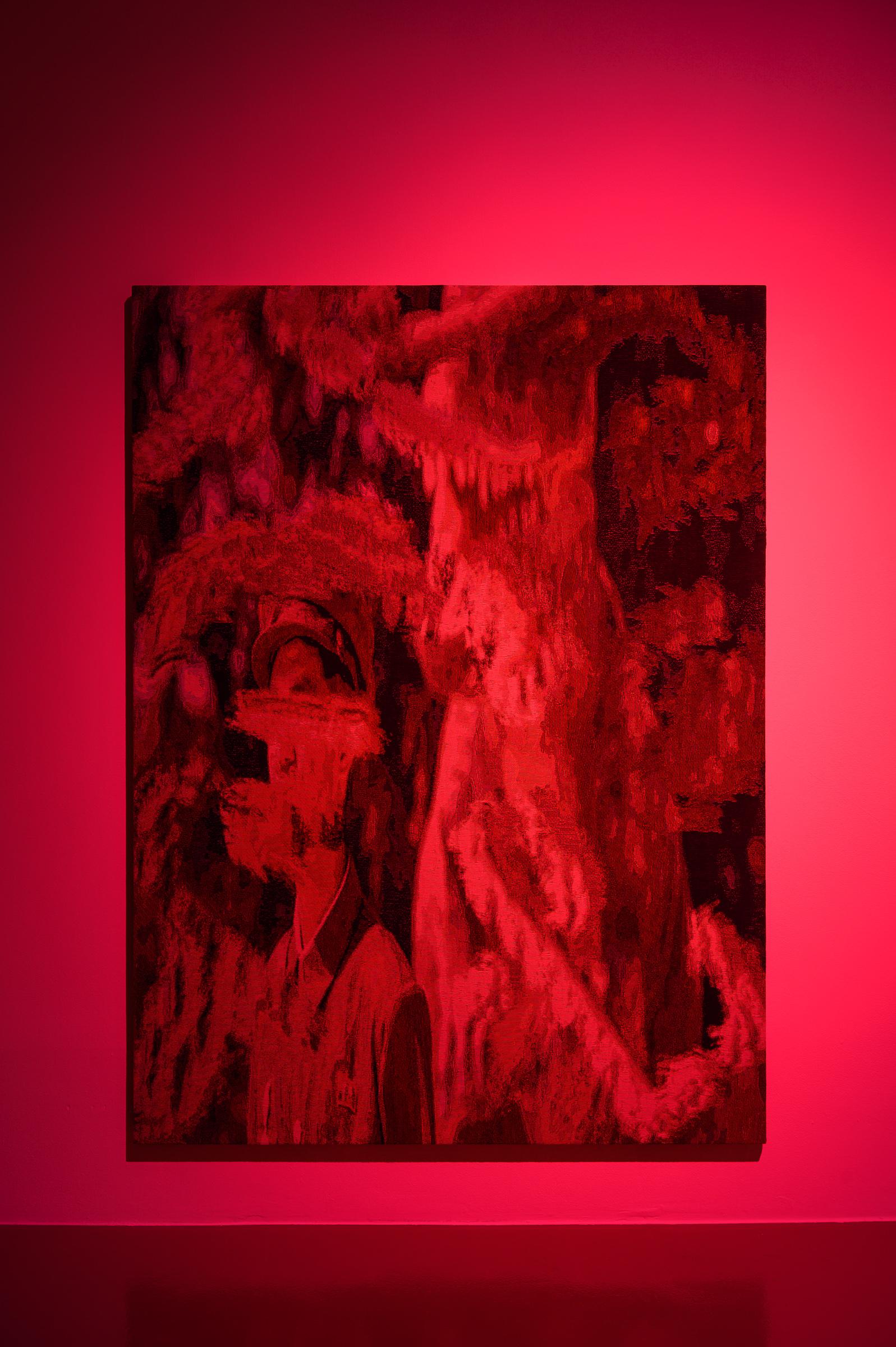 h6^8DJ, 2019 190cm x 140cm Dye Cotton Tapestry