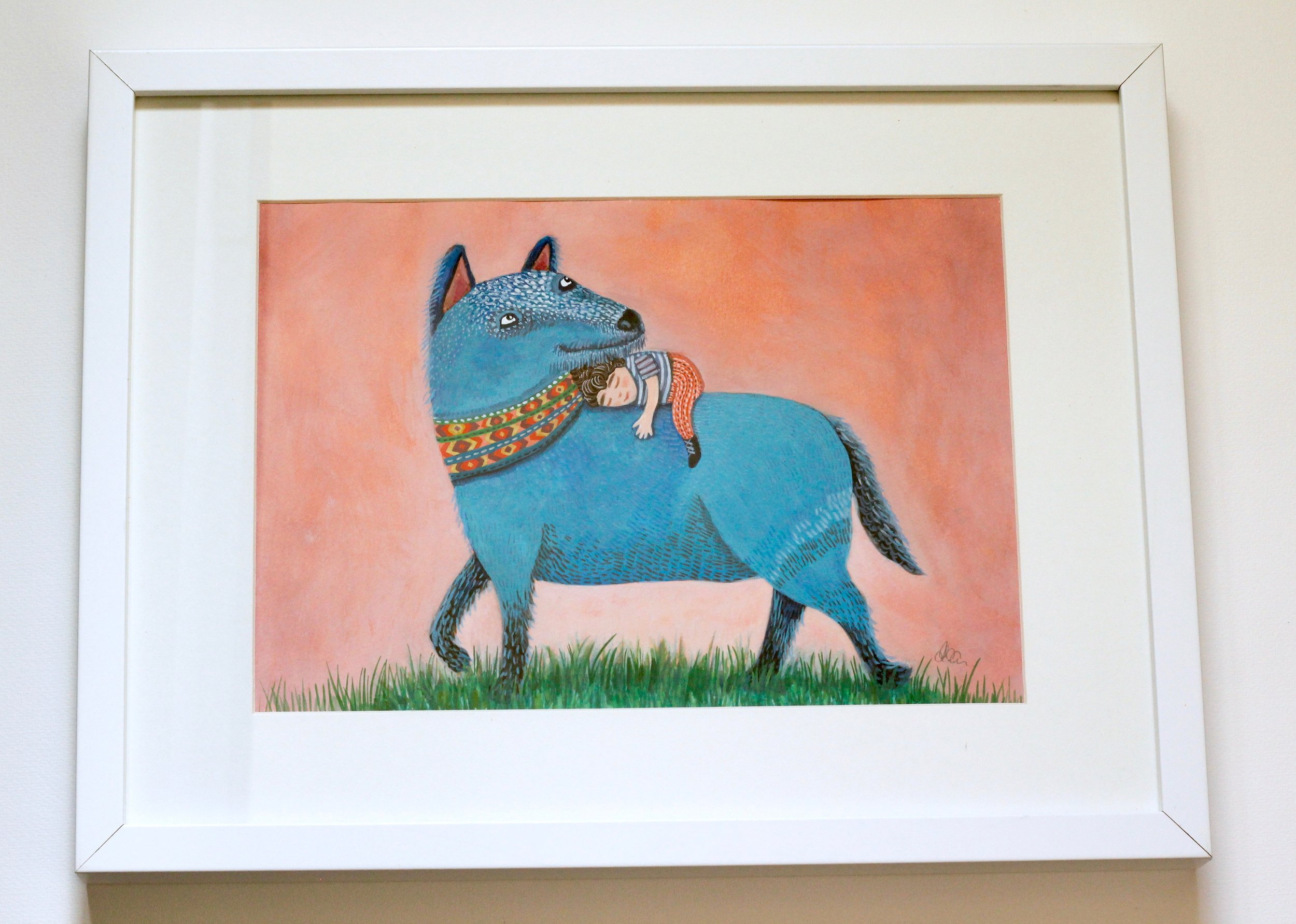Blue Dog - 20x30cm gouache and pencil on paper €120SOLD