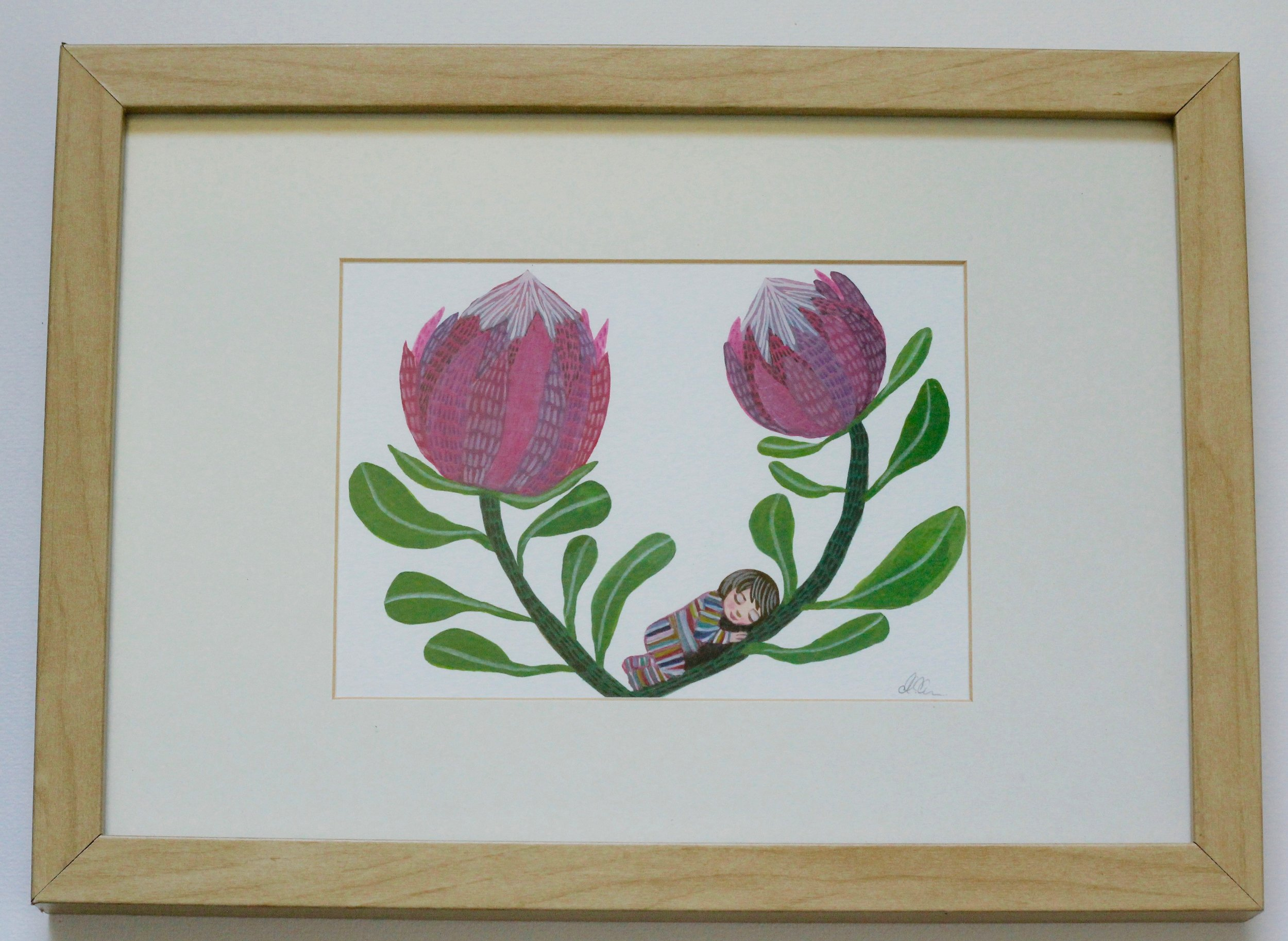 TRANQUIL PROTEAS - 12x17cm gouache and pencil on paper €50SOLD