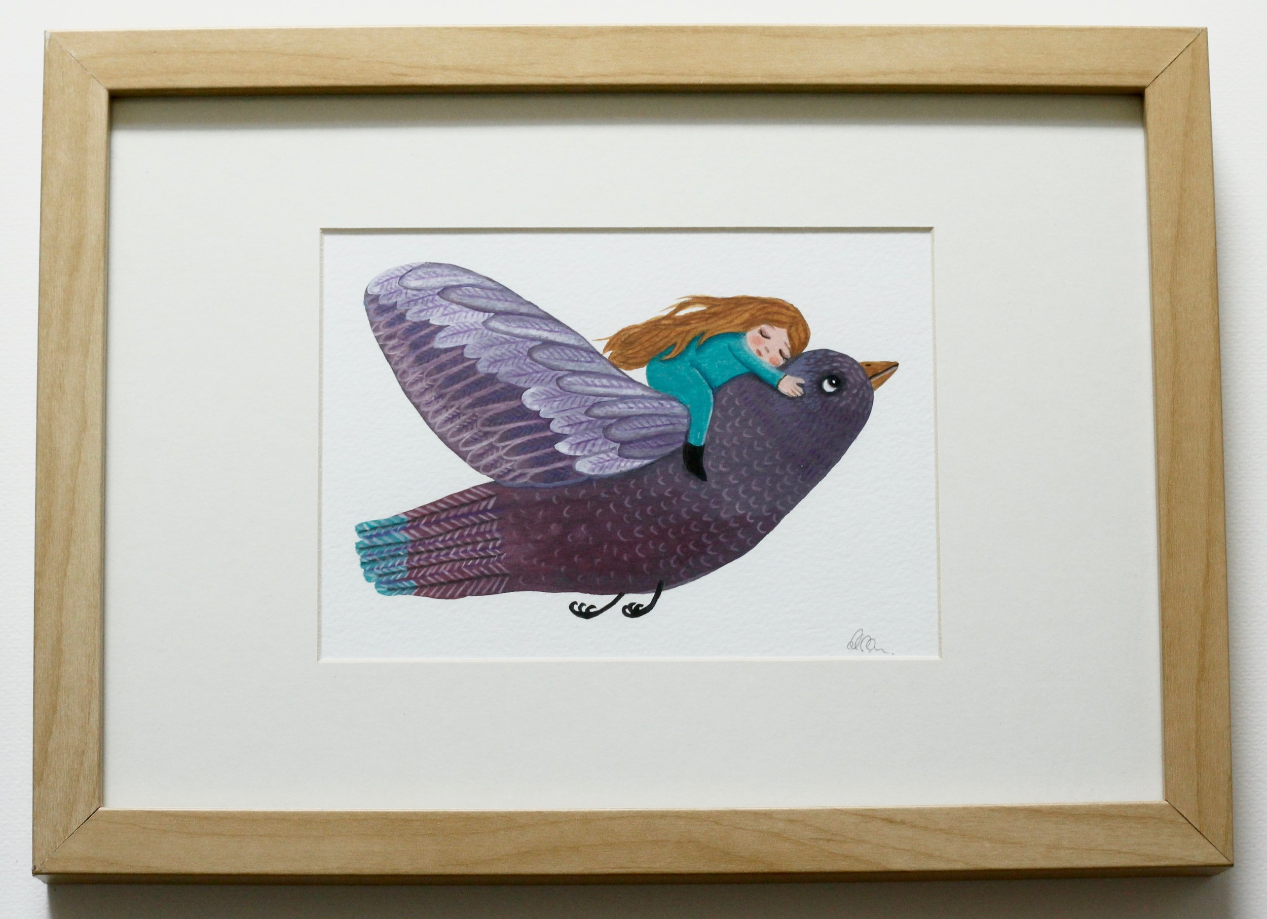 Purple Bird - 12x17cm gouache and pencil on paper €60SOLD