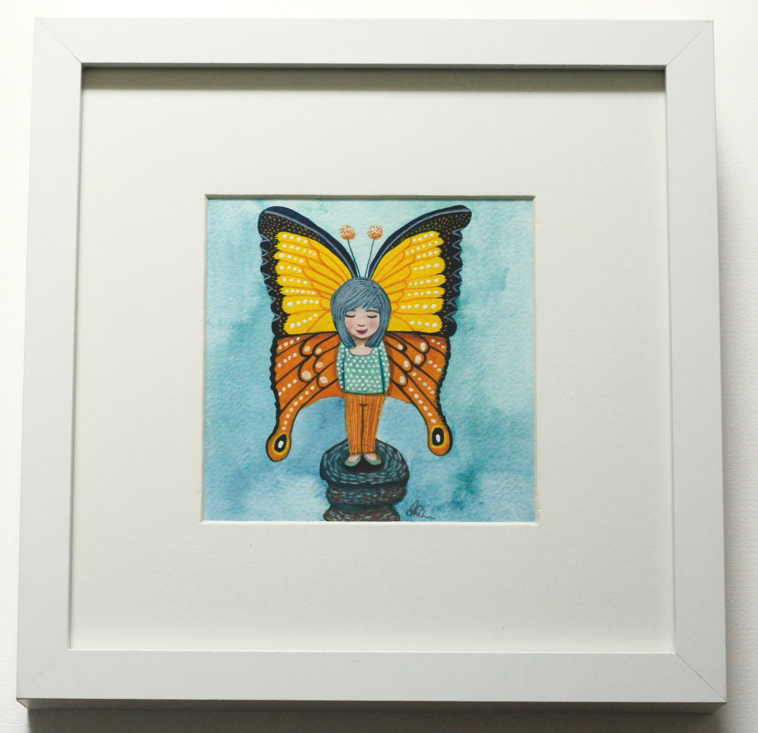 Butterfly Girl - 12x12cm gouache and pencil on paper €45SOLD
