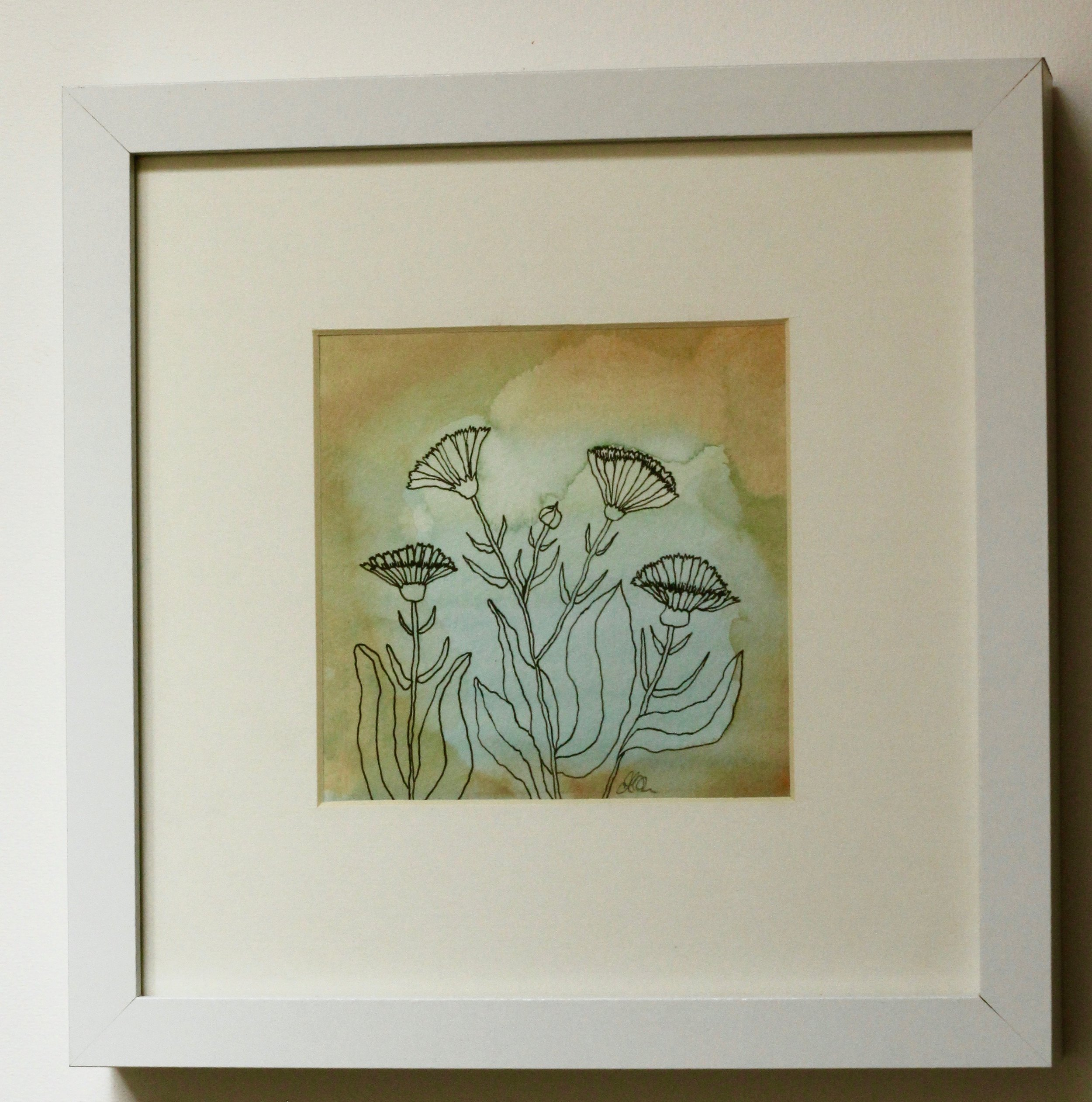 Calendula 1 - 12x12cm gouache and ink on paper €35SOLD - (not paid) Alexandra