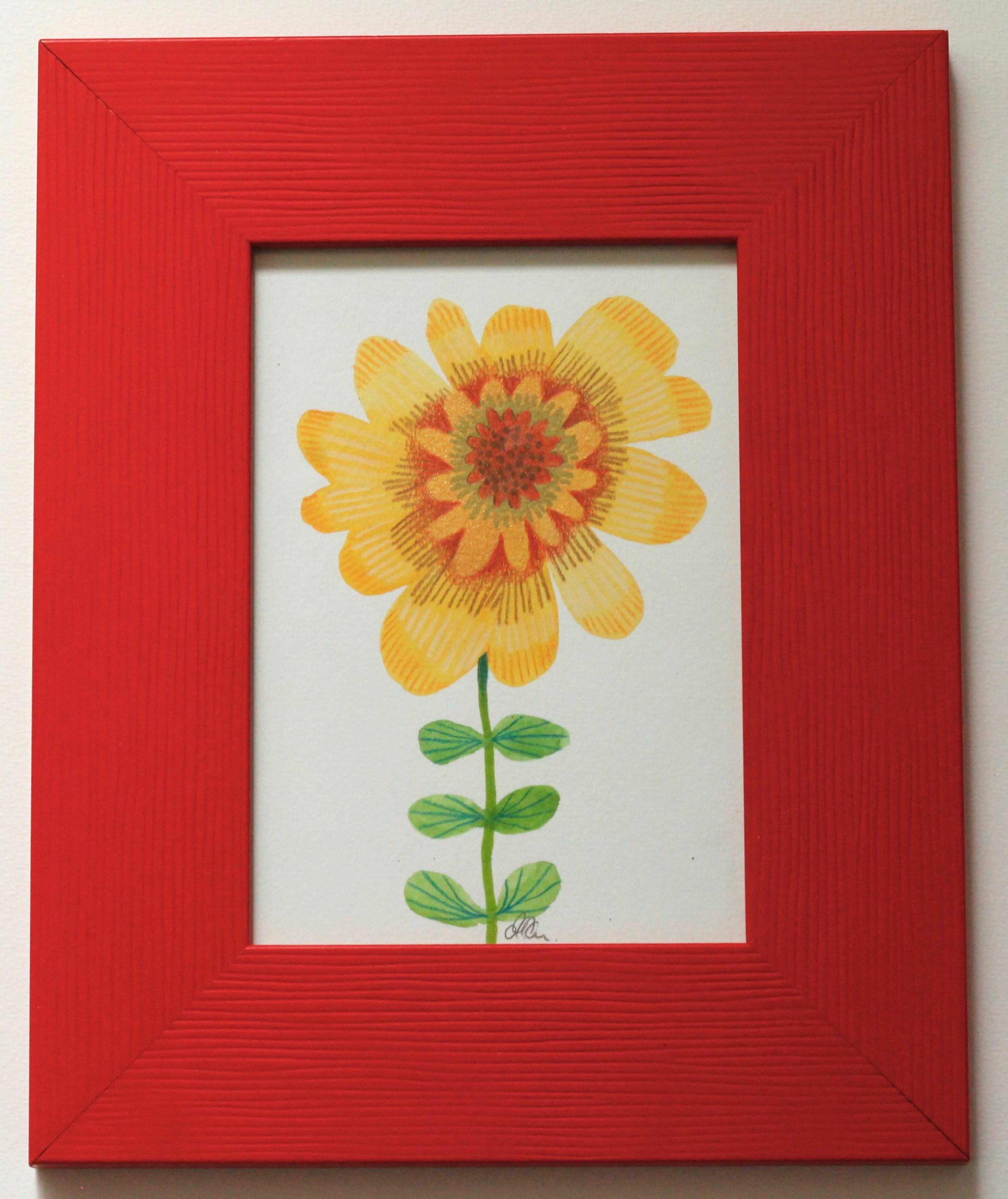 Flower Red Frame - 9x14cm gouache and pencil on paper €35