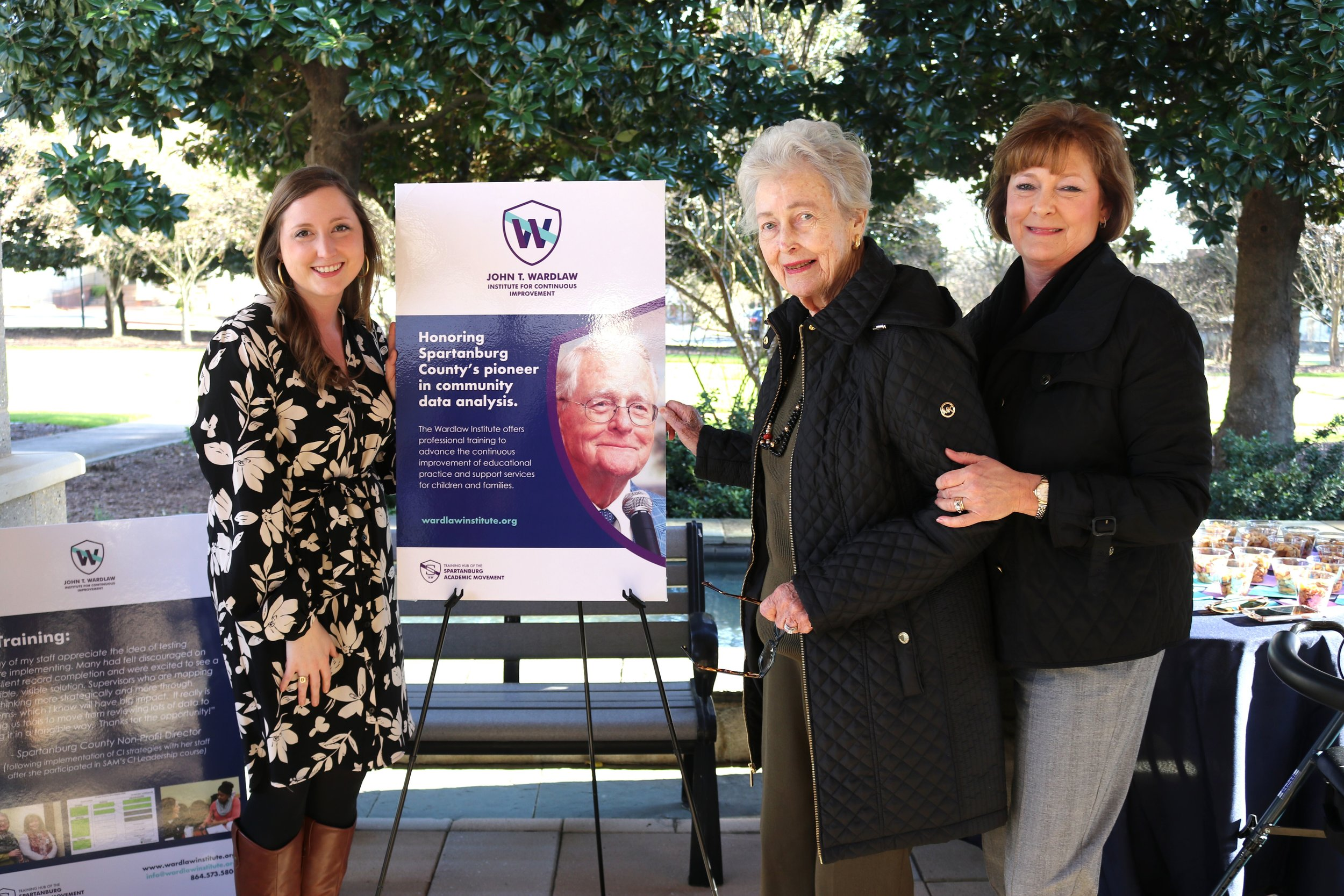 "Members of the Wardlaw Family celebrate the formal launch of the John T. Wardlaw Institute for Continuous Improvement. L-R are: Ms. Ashley McCollum, Mrs. Mary ""Pootsie"" Wardlaw, and Mrs. Saunders McCollum."