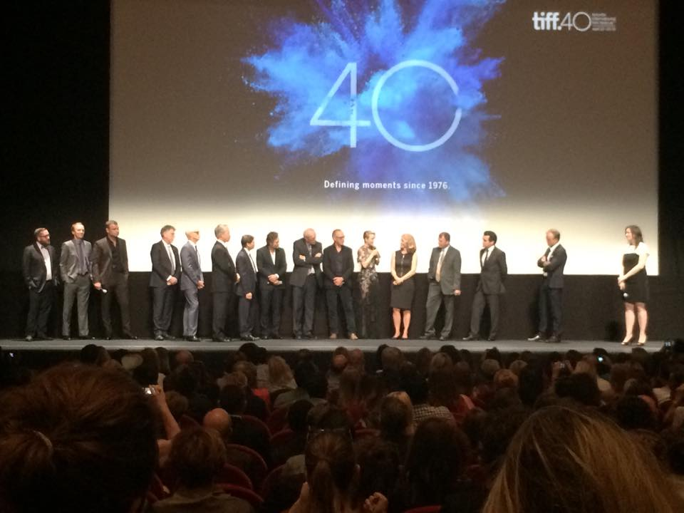 "On Stage at TIFF with the cast of Spotlight and their real life counterparts.   From left to right:  Me aka Michael Cyril Creighton (Joe Crowley), Neal Huff (Phil Saviano), Liev Schreiber/Marty Baron, John Slattery/Ben Bradlee, Jr.,  Mike Rezendez/Mark Ruffalo, Walter ""Robby"" Robinson/Michael Keaton, Rachel McAdams/Sacha Pfeiffer, Matty Carroll/Brian d'Arcy James, Director Tom McCarthy."