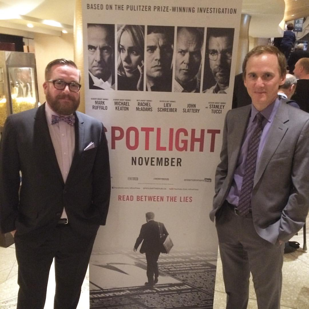 Me (Michael Cyril Creighton) and Neal Huff who play Joe Crowley and Phil Saviano, respectively, in Spotlight.