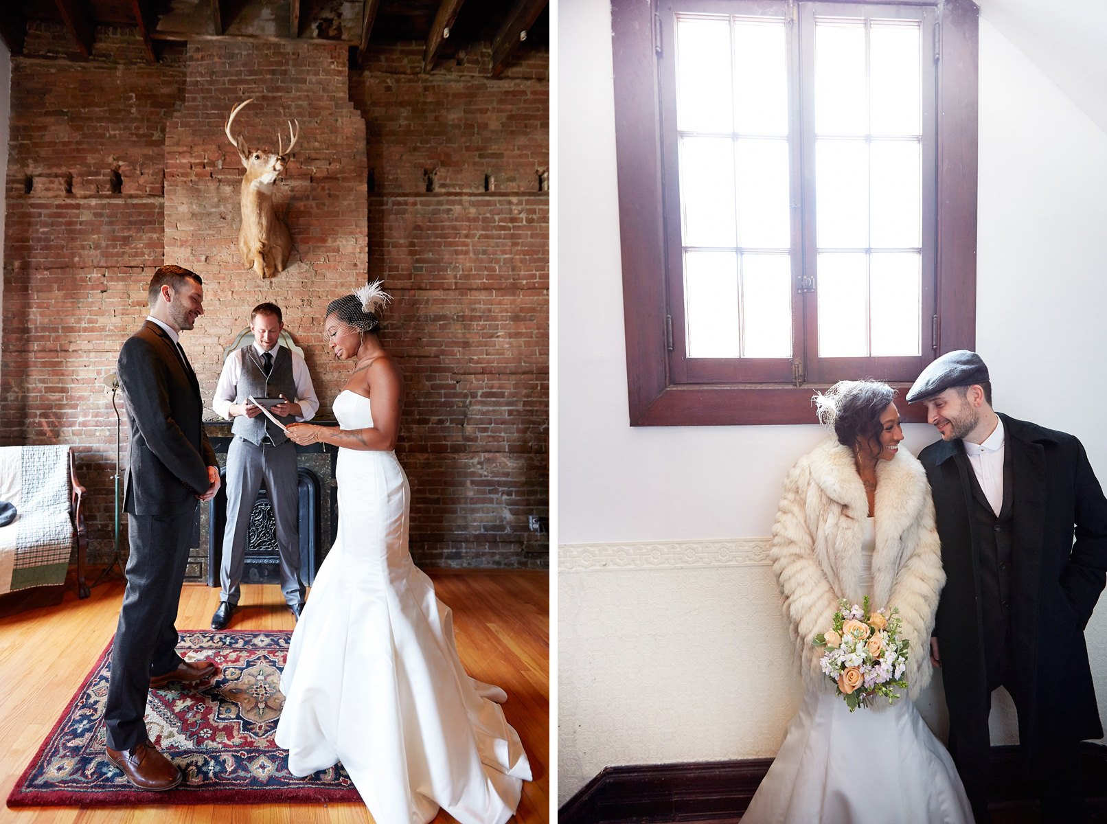 Sabrina declaring her love in the Top Hat suite. The happy couple in the hallway of The Milliner