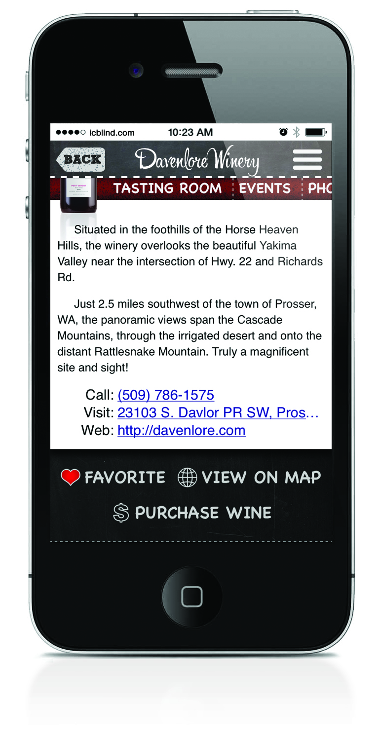A link to purchase wine goes right to the Sipspot's store.