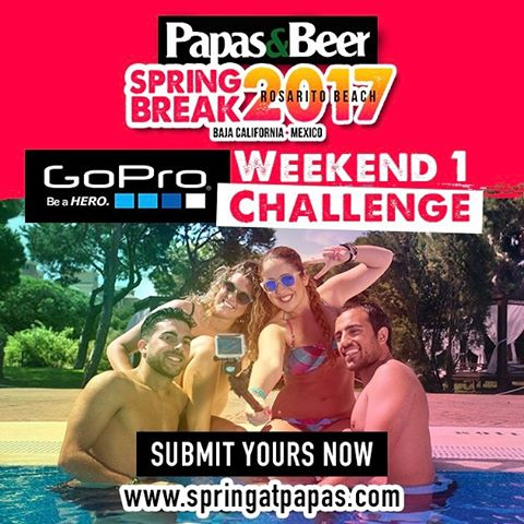 #springatpapas Weekend 1 Challenge!  1. Record your week 1  Springatpapas experience  2. Make an edit & submit it to www.springatpapas.com  3. Get your friends to vote on your video for a chance to win a @GoPro Hero5 Sessions