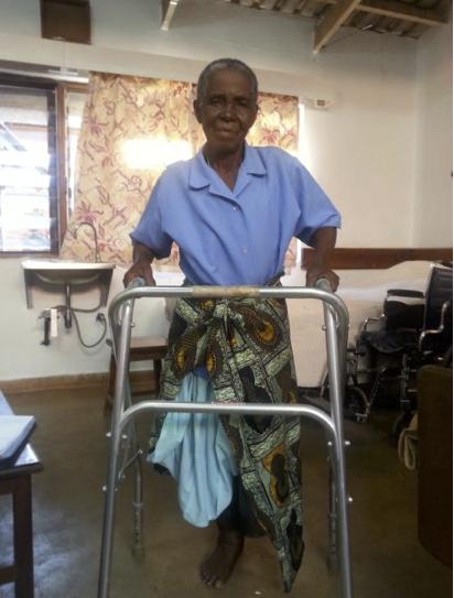Rozina with her walker at the Malamulo Hospital in Malawi. Photo courtesy of Temidayo Ogunrinu.