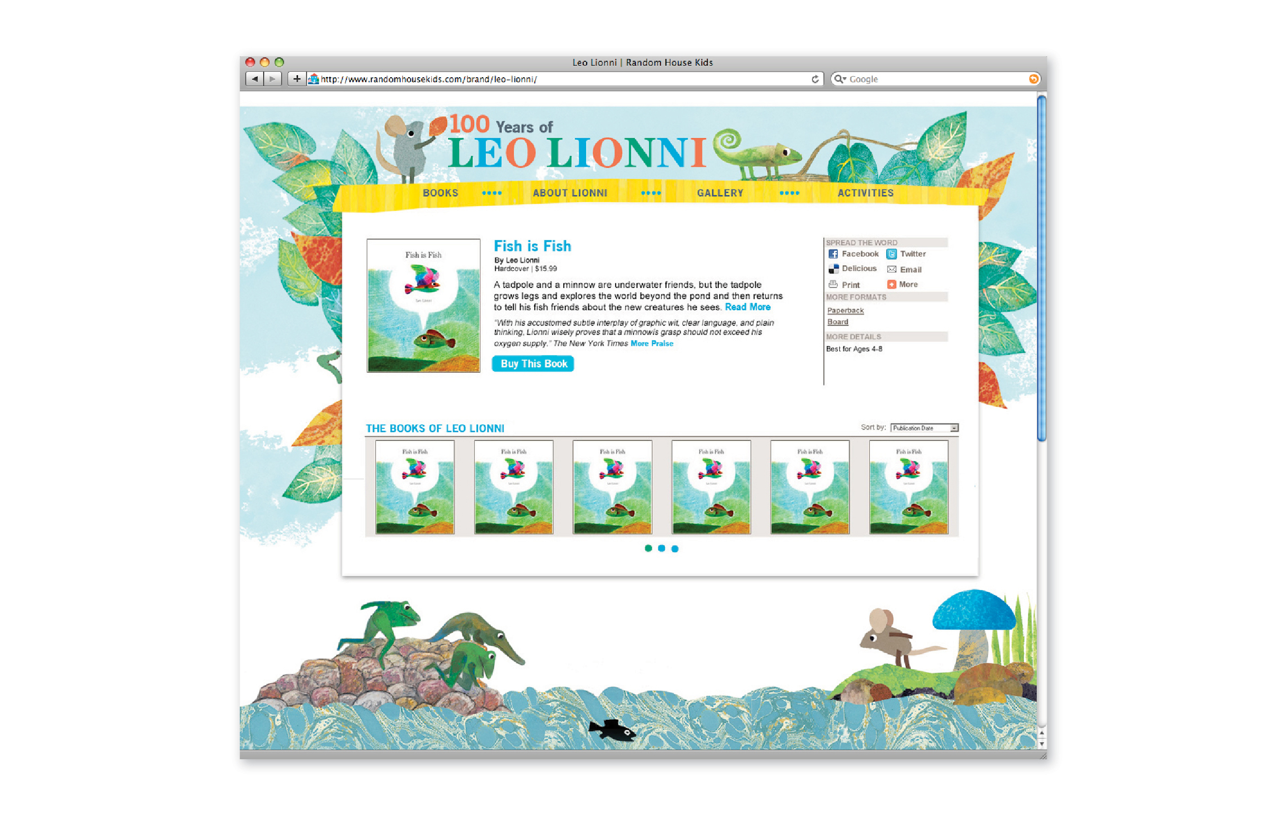 Leo Lionni website : header & skin design