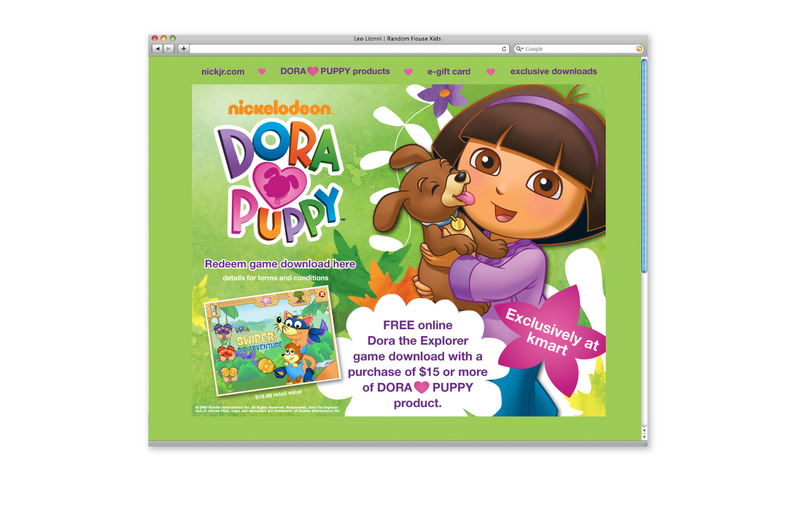 Dora Puppy for Kmart splash page