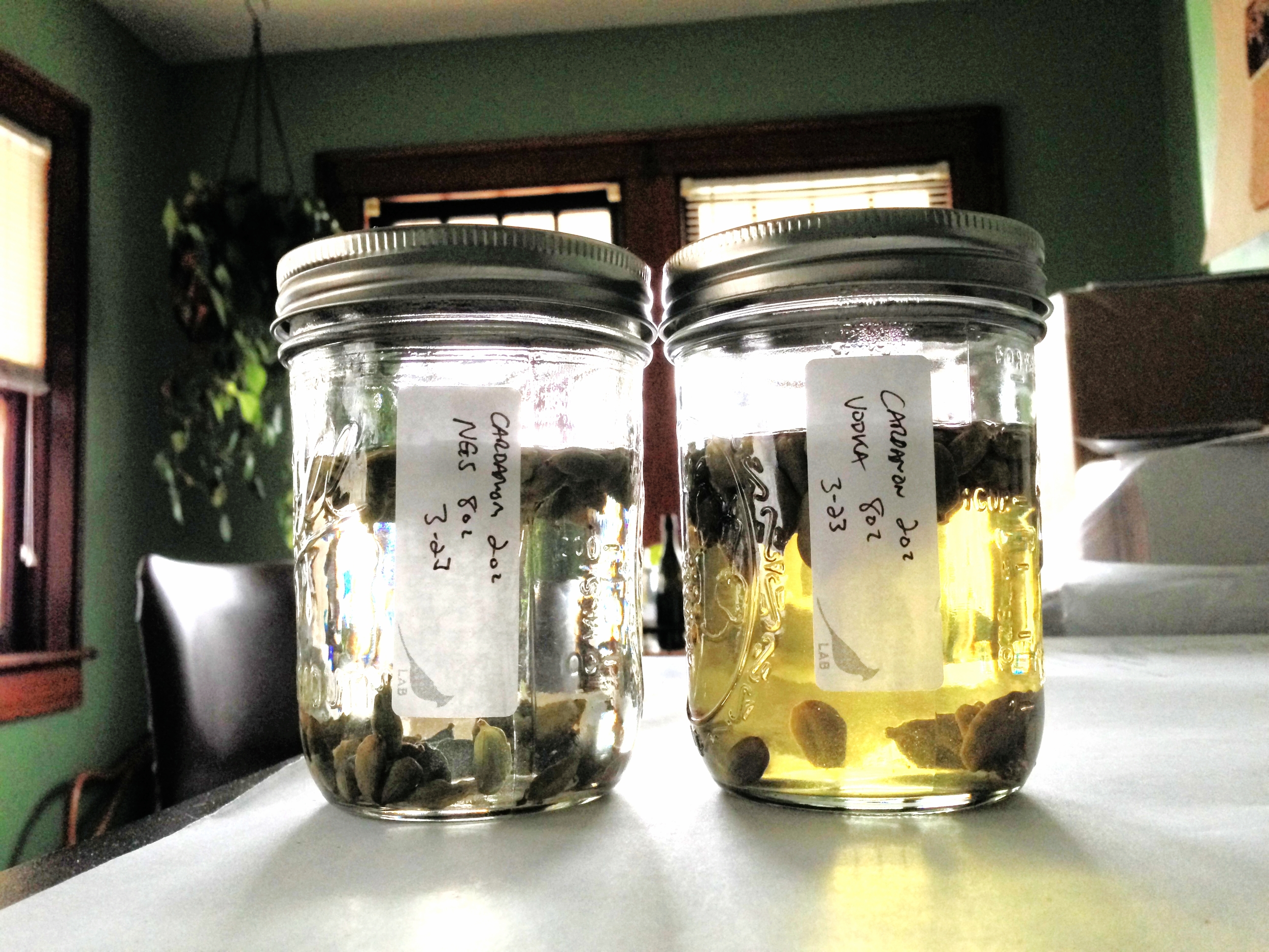 Cardamom extraction after 48hrs in 95% ABV NGS on left - 40% ABV vodka on right