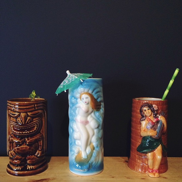 Tiki mugs on loan from Baylee and Chris' personal collection.