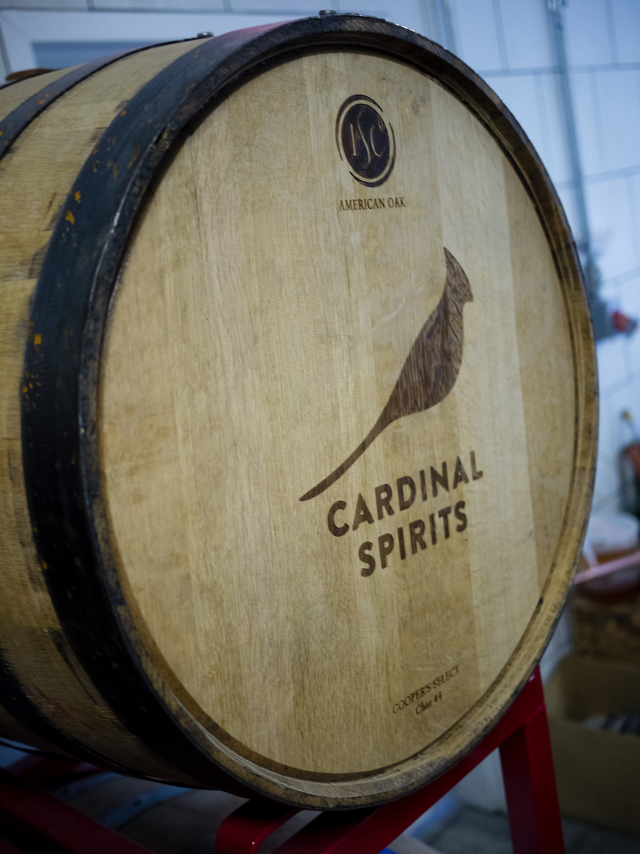 Barrels are stored right on site at Cardinal.