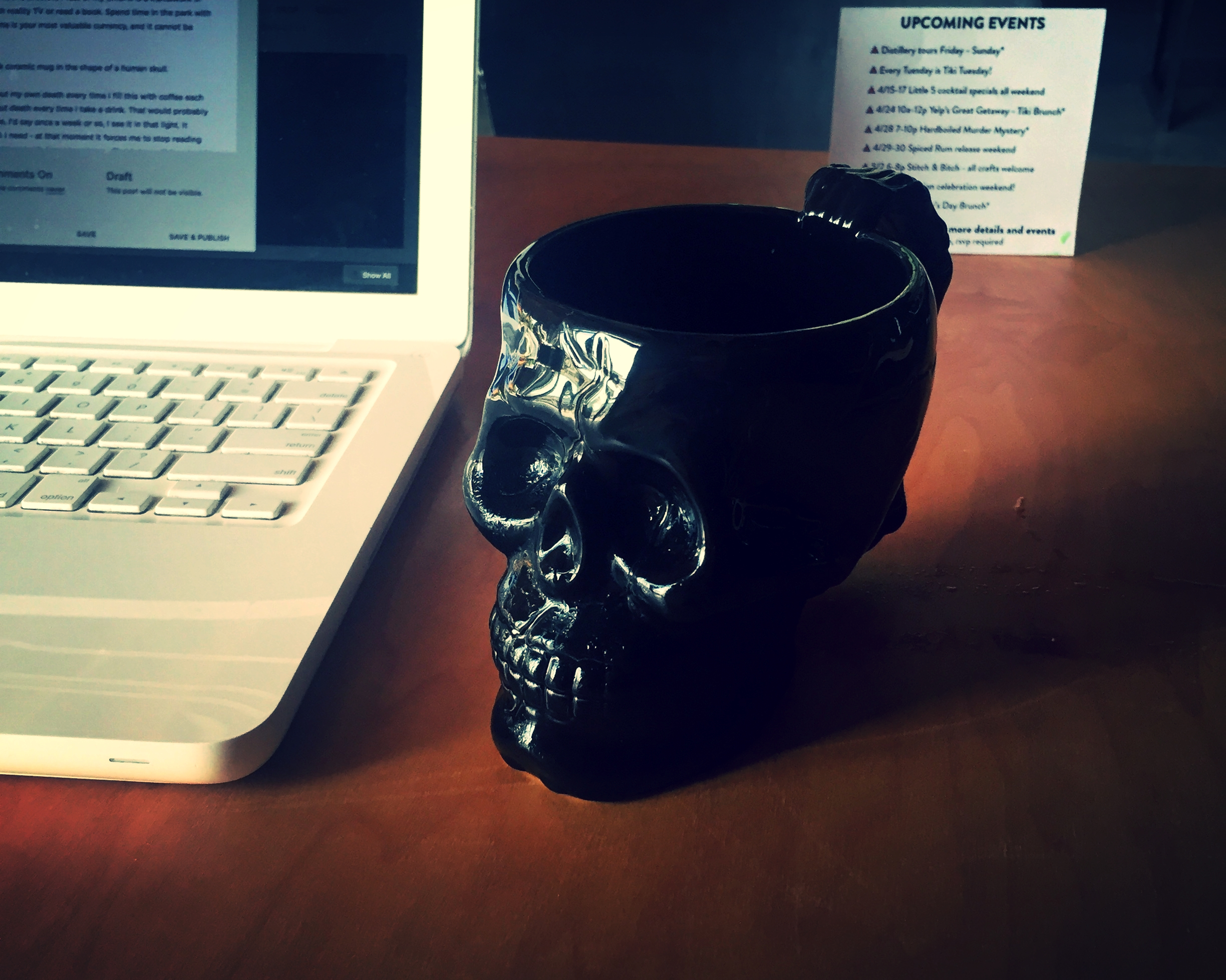 This is my own Memento Mori. It's a black ceramic mug in the shape of a human skull.