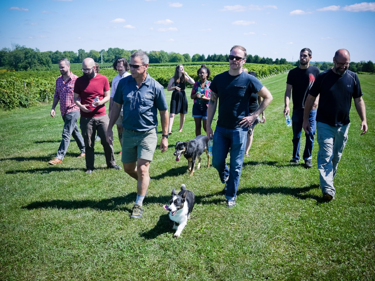 Bill Oliver leading the pack with his dog, Pickles.