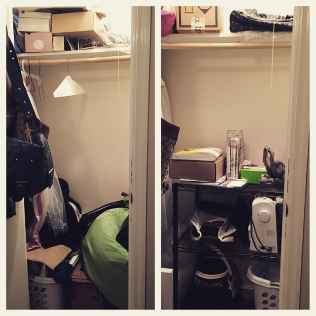Closet before (left) and closet after (right).