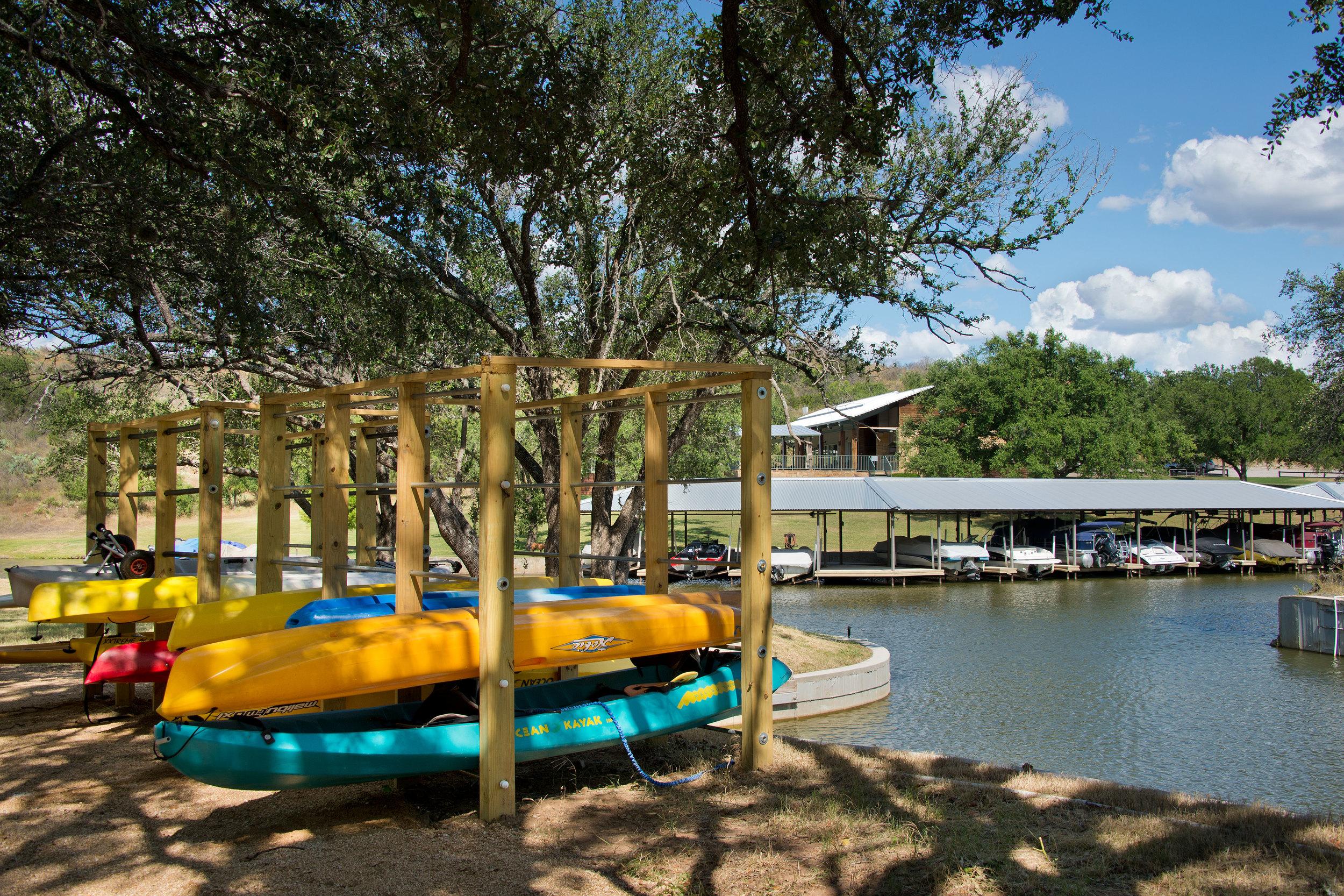 Kayak and Paddle Board Storage at the Marina at Trails of Horseshoe Bay