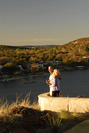 Property owners enjoy sunset views of Lake LBJ and the Texas Hill Country at the Trails of Horseshoe Bay