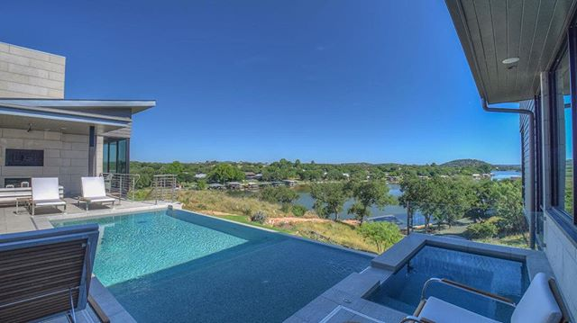 This view couldn't be any better. Enjoy views of Lake LBJ and sweeping vistas of Packsaddle Mountain at Trails of Horseshoe Bay. . . #customhome #modernhome #lakefrontliving #lakeview #lakelife #horseshoebaytexas #lakelbj #privatecommunity