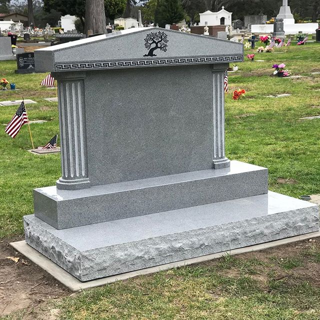 #SanCarloscemetery #monterey #grey #gray #granite #polish #polished #frost #frosted #sandblast #sandblasted #paint #painted #columns #rockpitch #greekkey #tree #custom #centralcoastmonuments