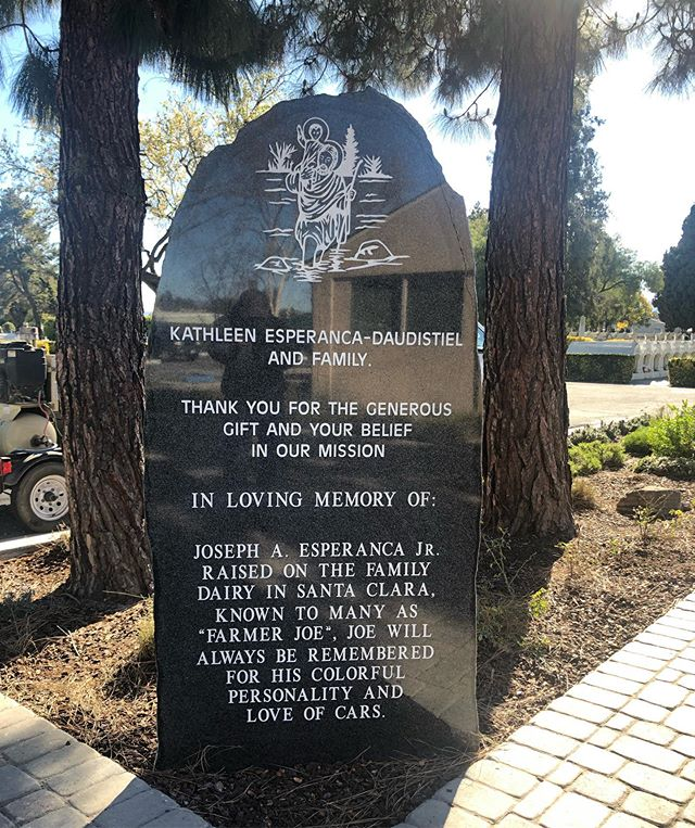Engraved boulder that has been sawn and polished. #santaclaramissioncemetery #santaclaramission #santaclarauniversity #engraved #polished #rockpitch #rockpitched #whitepaint #california #cali #etch #etched #sandblast #sandblasted #hardwork