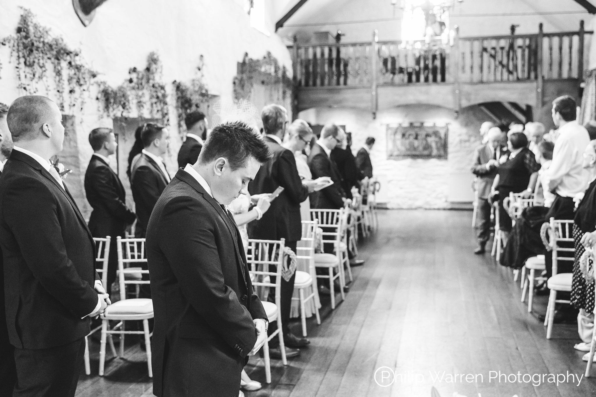 Groom Waiting in Miskin Manor Ceremony Room