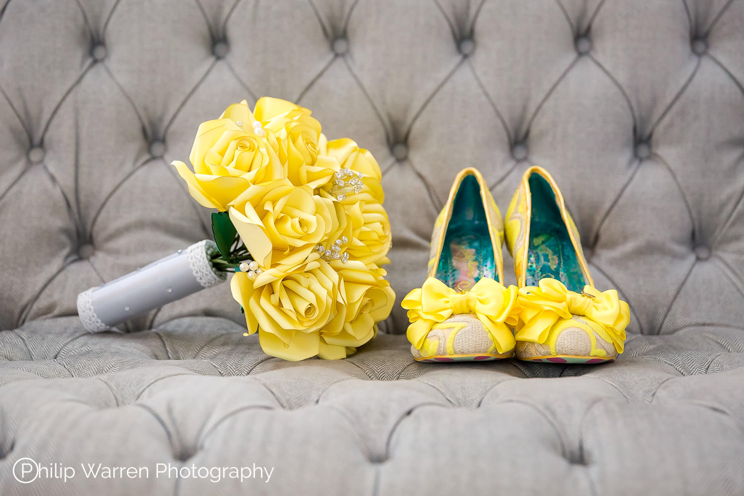 irregular choice yellow wedding shoes and flowers