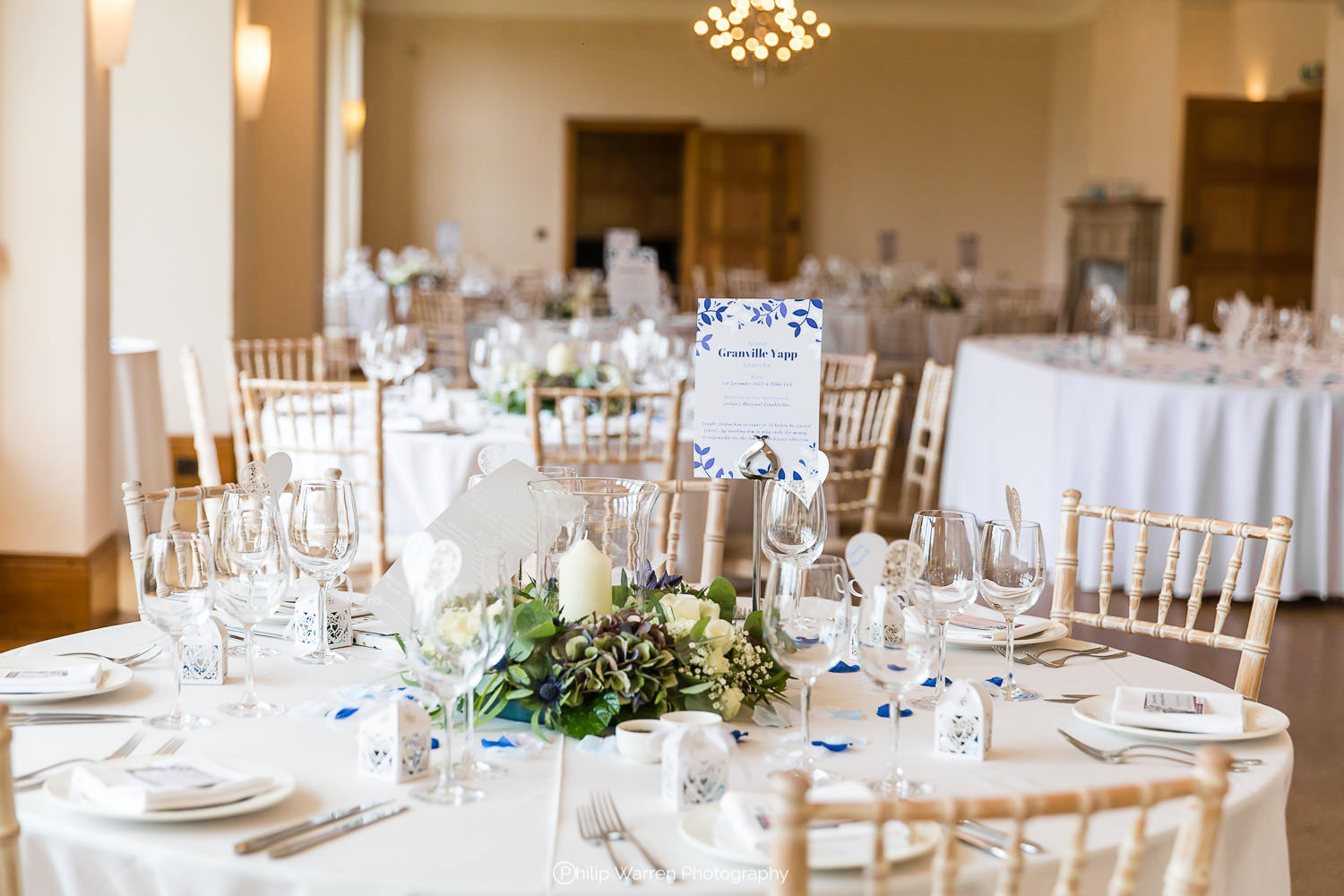 wedding breakfast setup at coombe lodge in blagdon