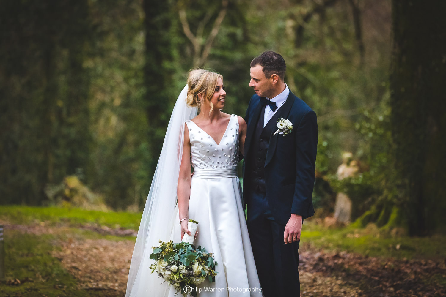 bride and groom portrait at fairyhill gower