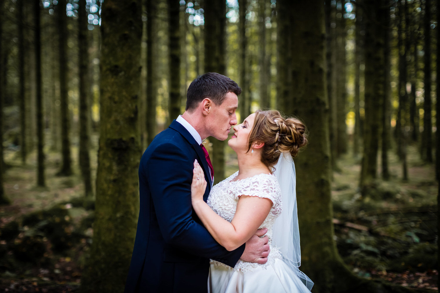 wedding photography in the forest near the brynffynon