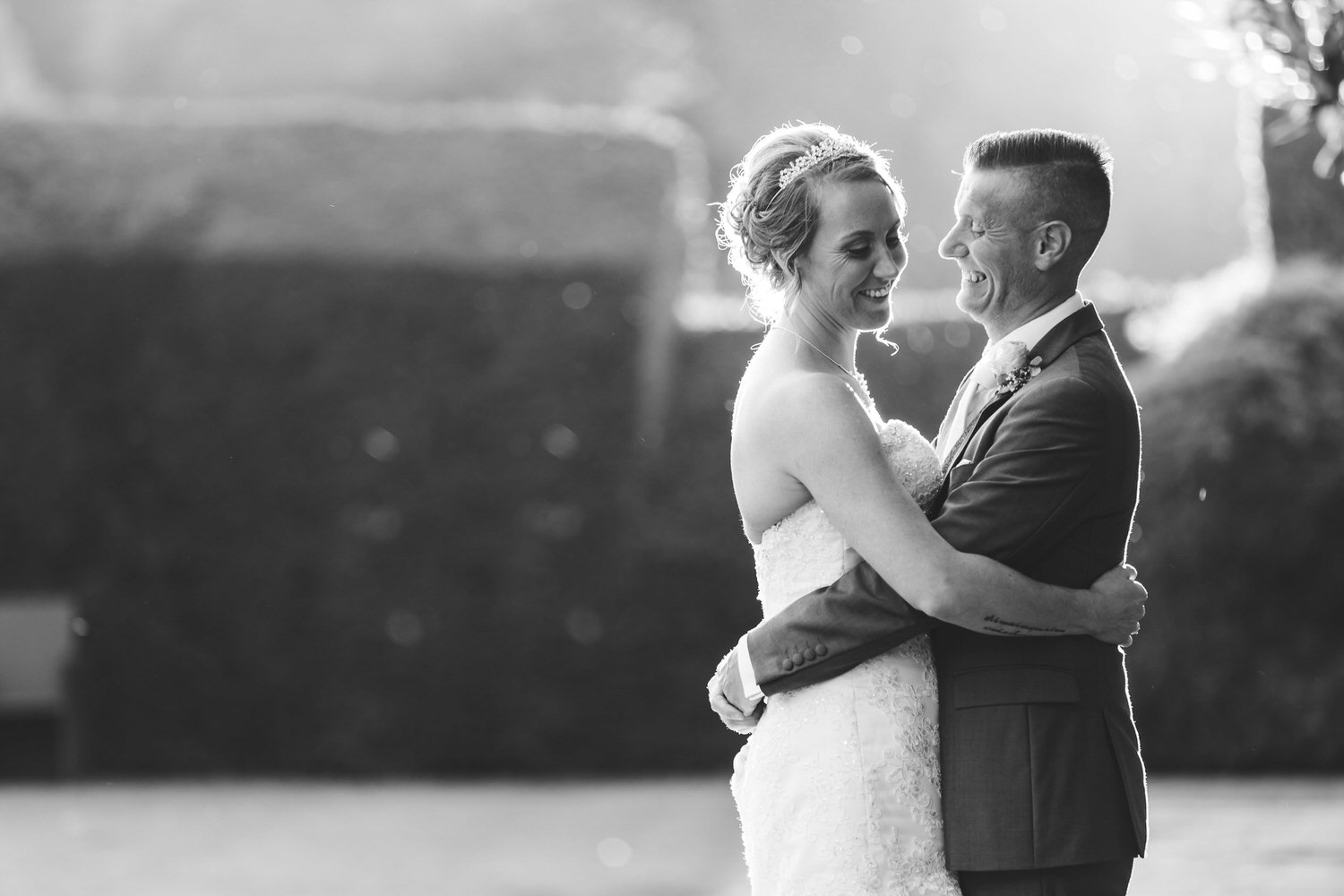 black and white evening wedding photos at miskin manor