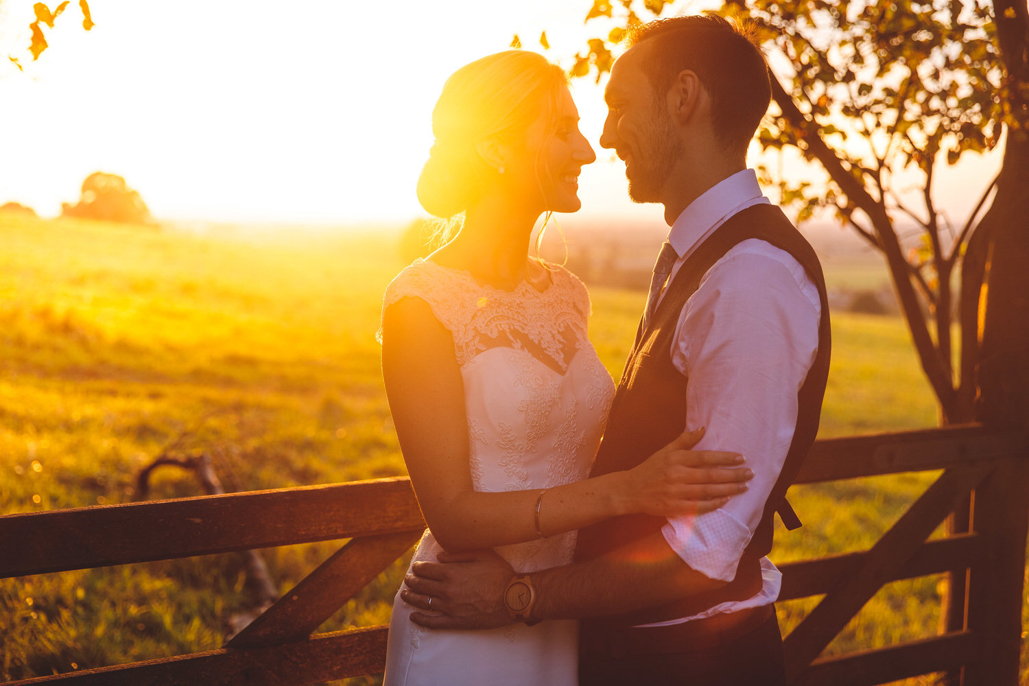 sunset during the wedding at coombe lodge in blagdon