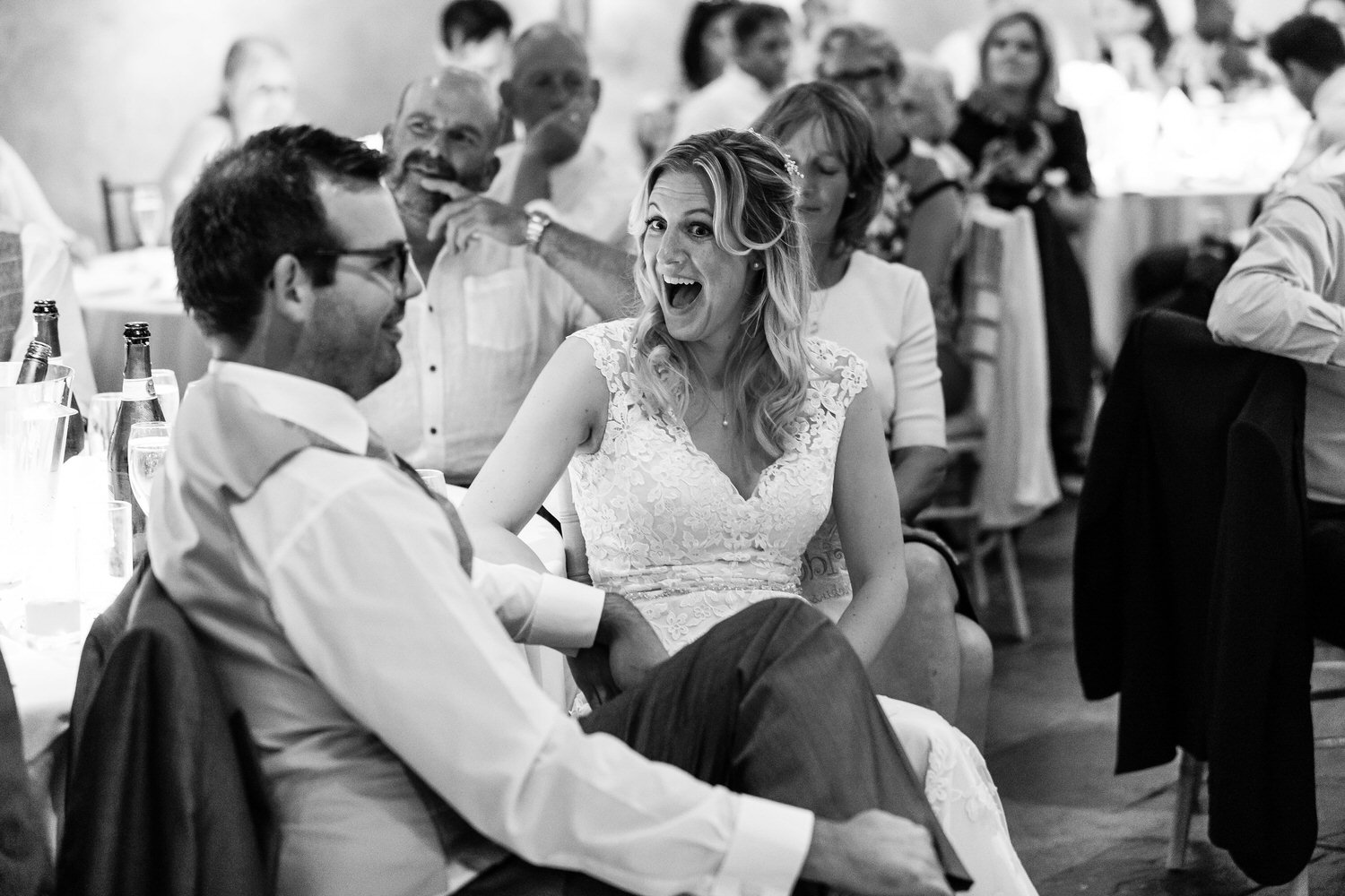 surprised bride at best man speech