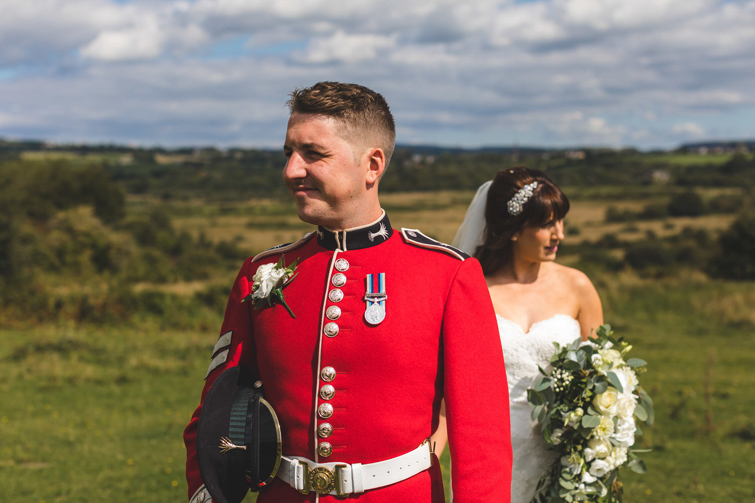 welsh guard and his bride on llantrisant common