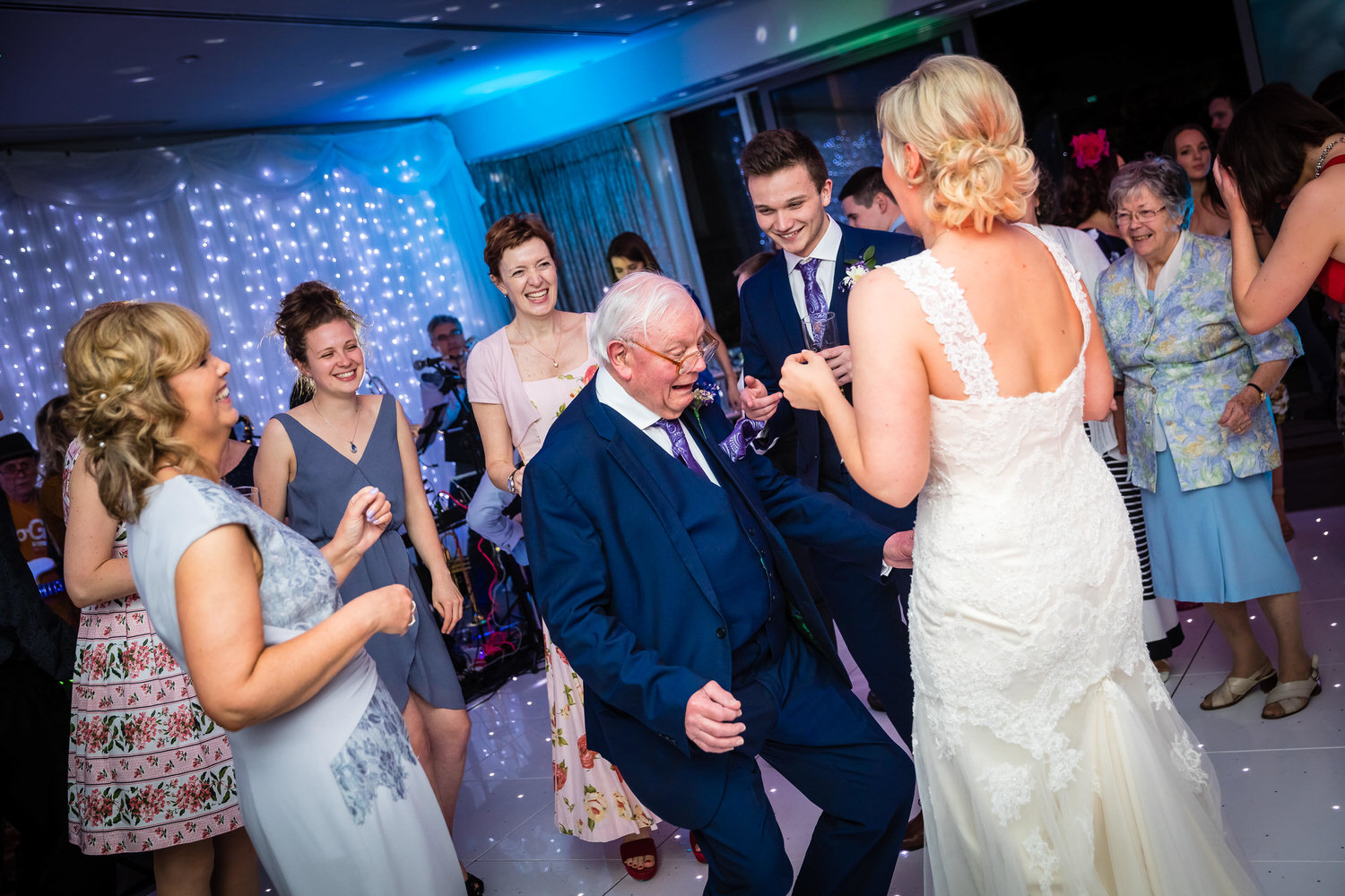 grandad dancing at wedding reception