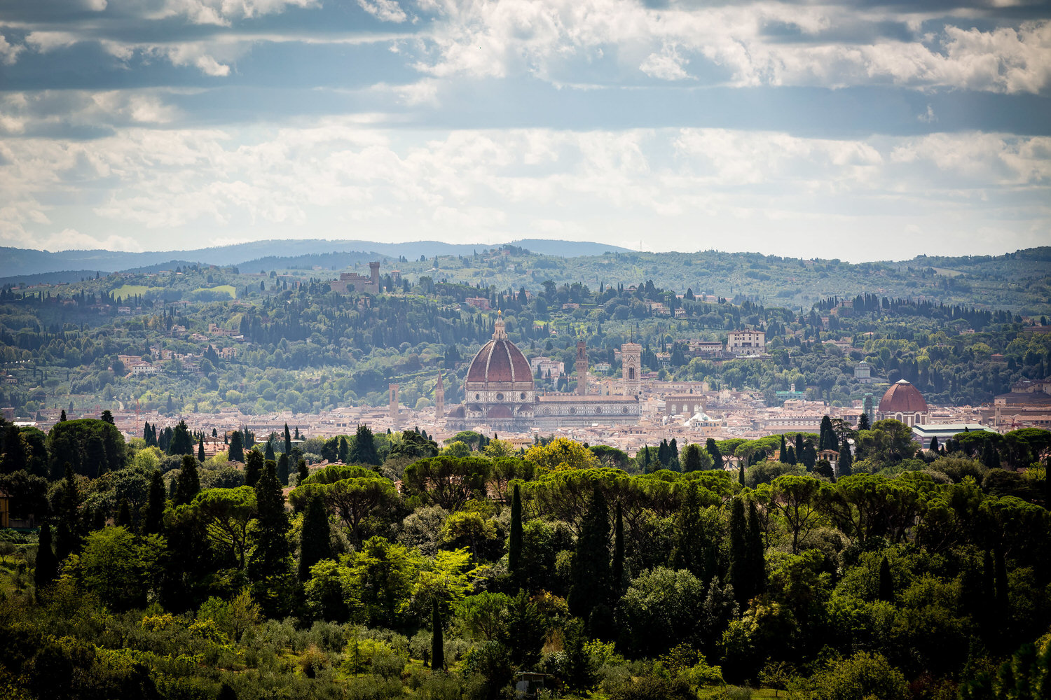 view from villa le fontanelle over florence