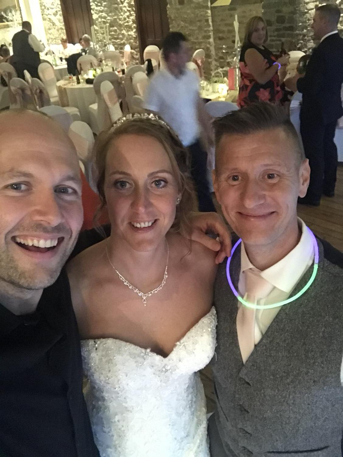 me and the happy couple at miskin manor