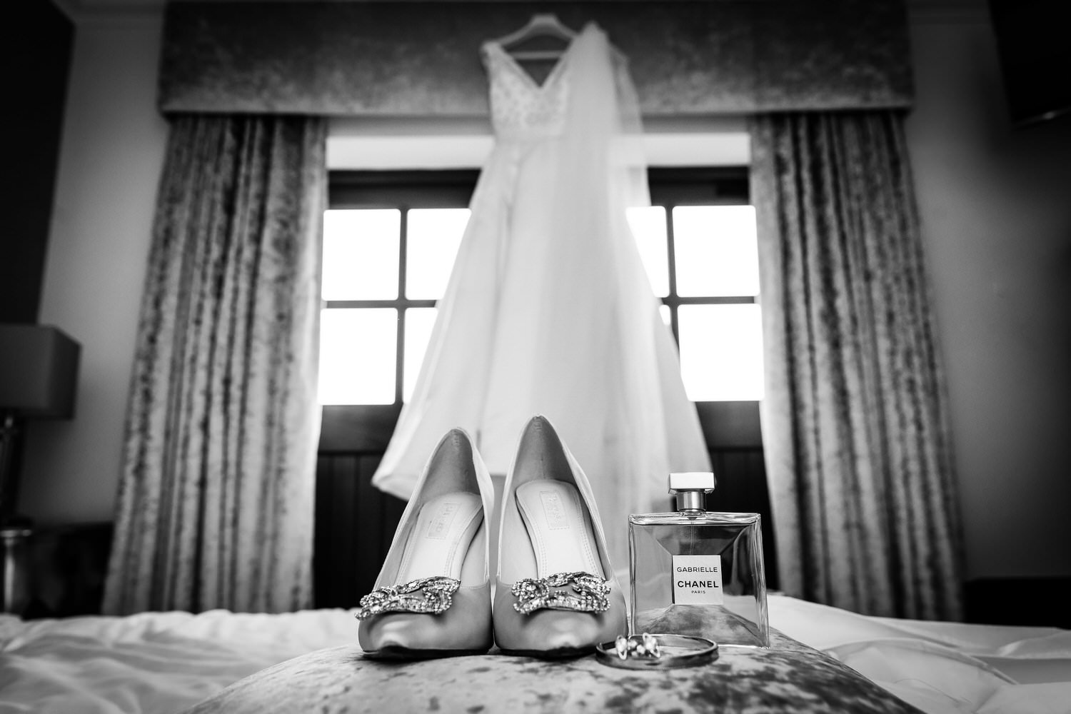 wedding shoes and dress at fairyhill