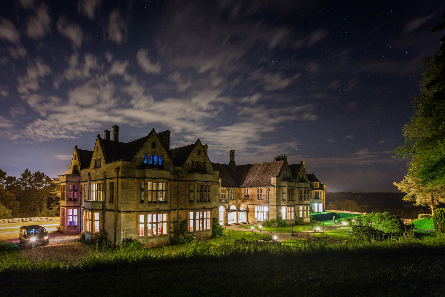 coombe lodge at blagdon at night