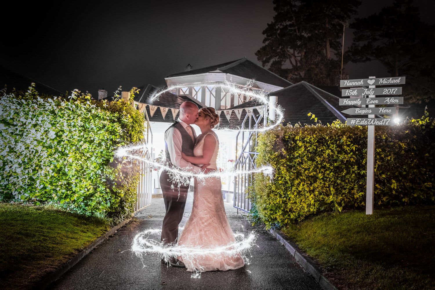 sparklers at old post house st fagans wedding photographer cardiff