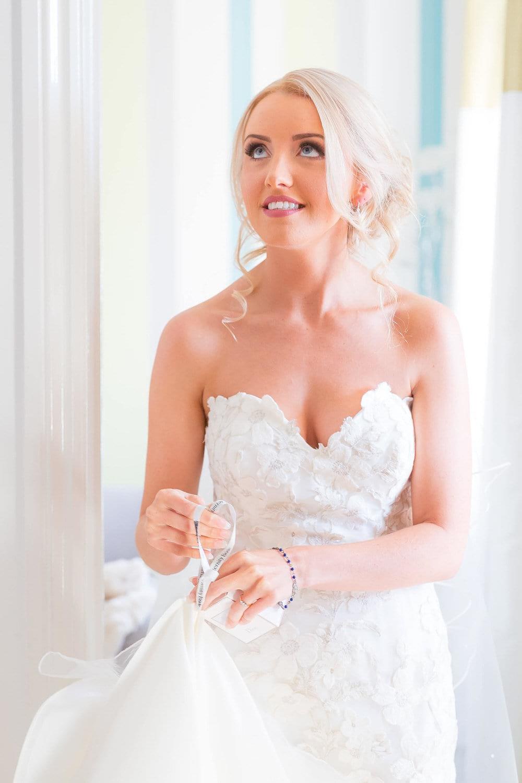 bride smiling at bridal preparation