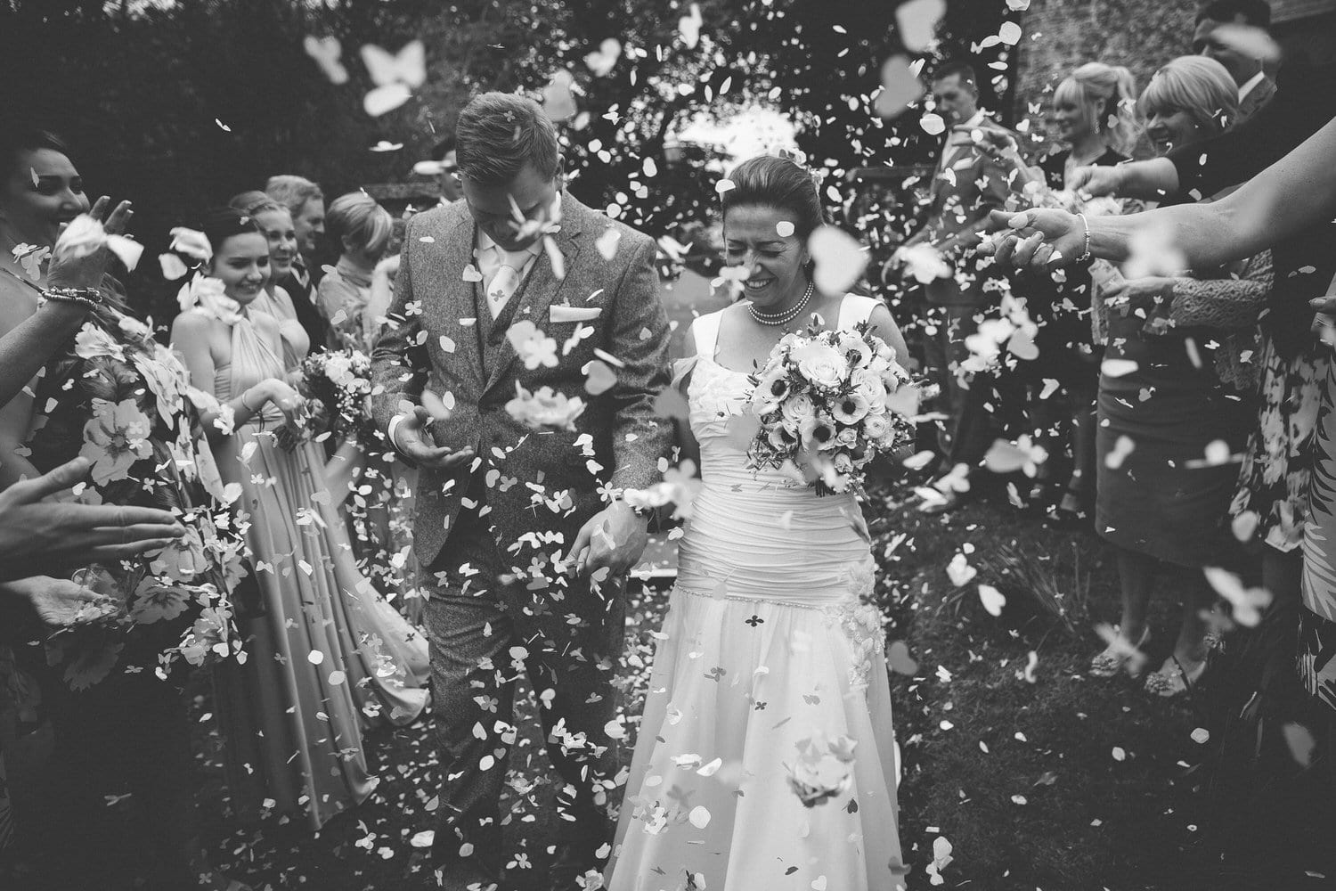 black and white confetti photo in south wales