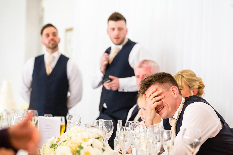 groom embarassed at best men speech