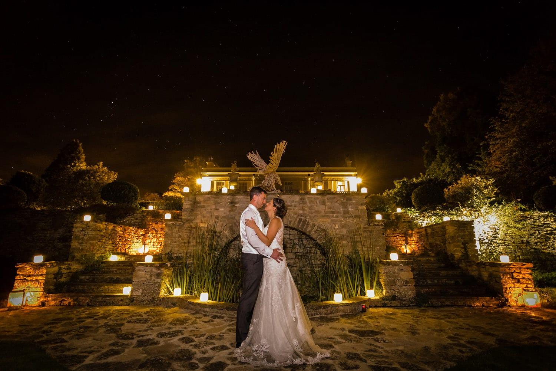 night sky during wedding photos at glenfall house wedding photographer bristol