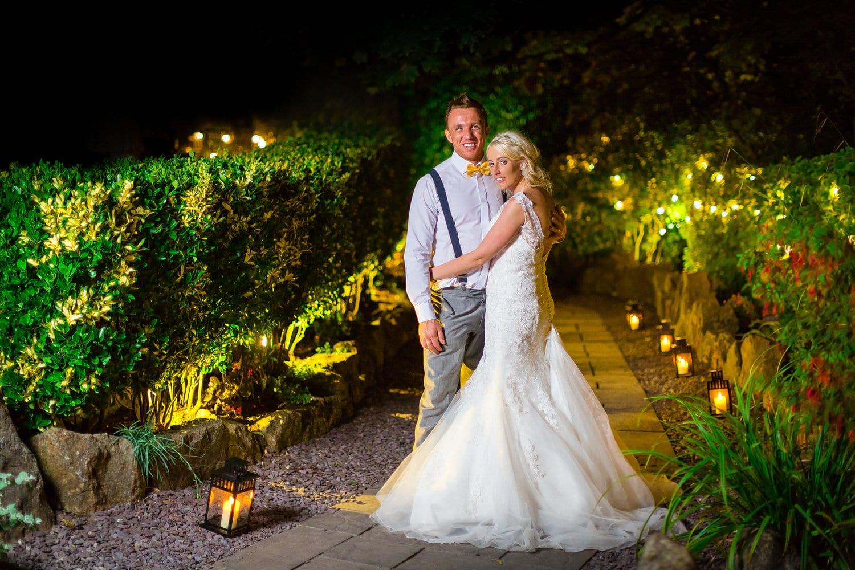 Night wedding photo at oxwich bay hotel